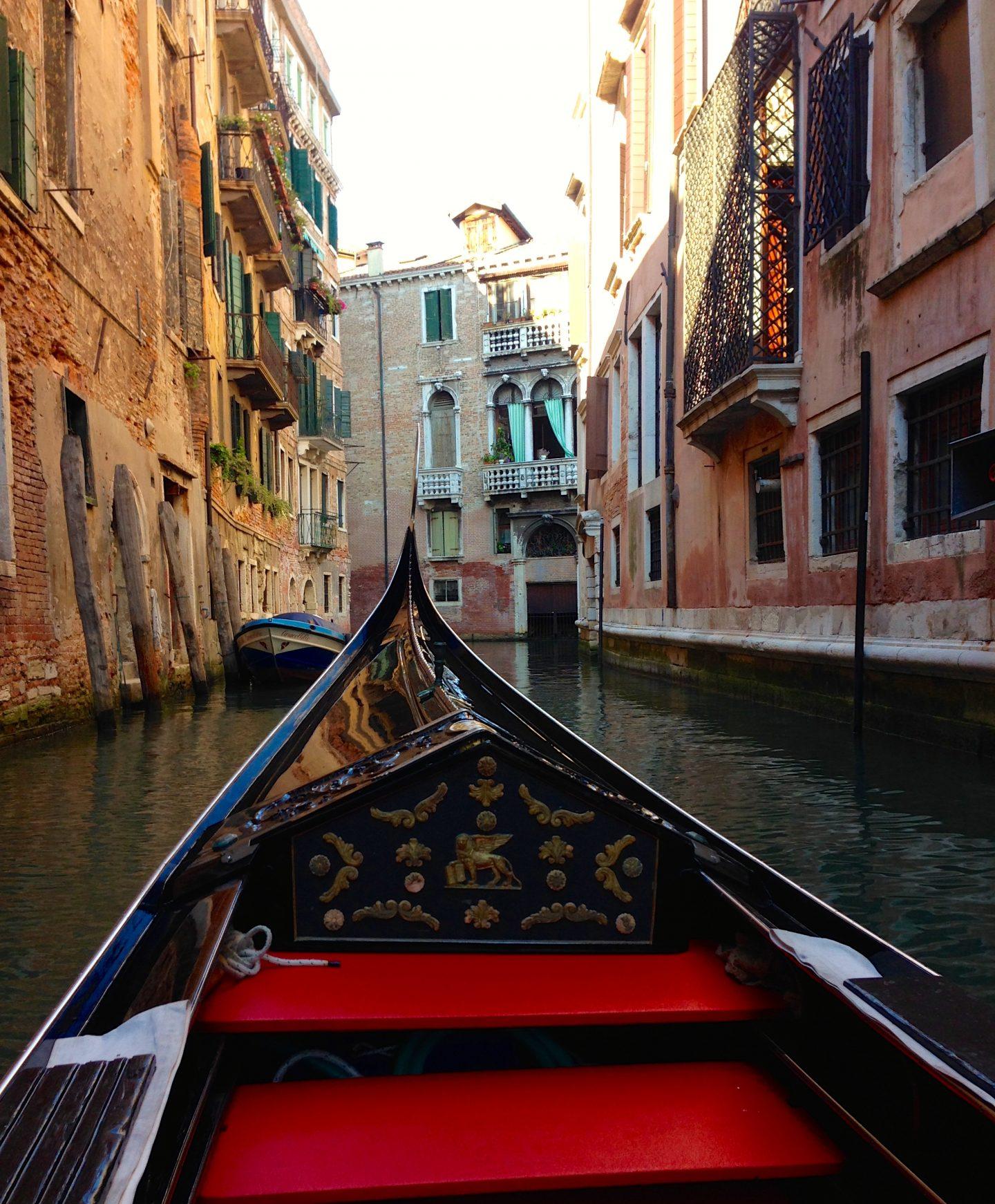 Gondola ride in Venice Italy.