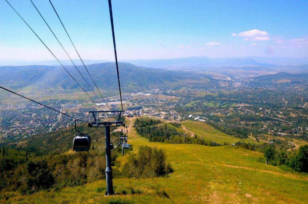 Taking the gondola up the mountain in Steamboat Springs, Colorado.