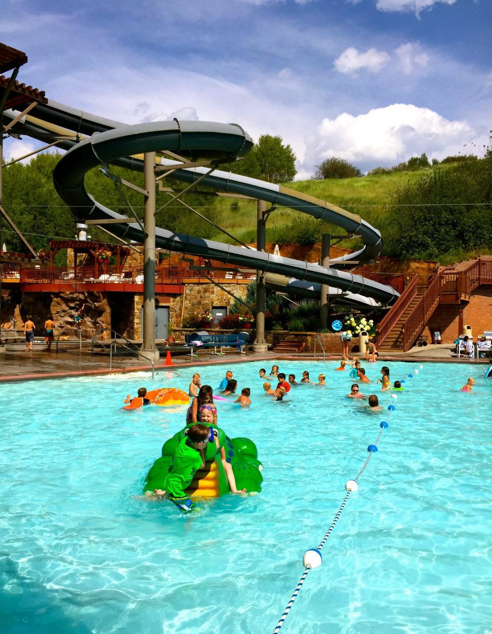 Water slide at Old Town Hot Springs in Steamboat Springs, CO.