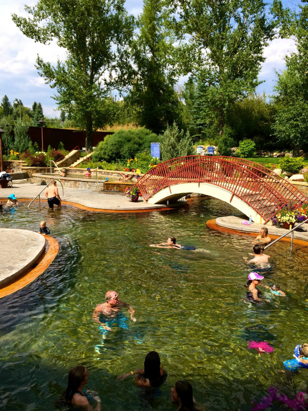 Enjoying the hot springs at Old Town hot springs in Steamboat Springs, CO.