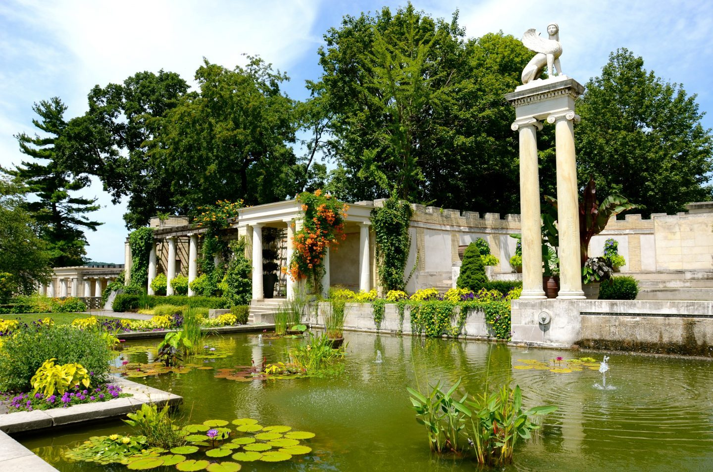 Beautiful lilly pond at Untermyer Park and Gardens in Westchester New York.