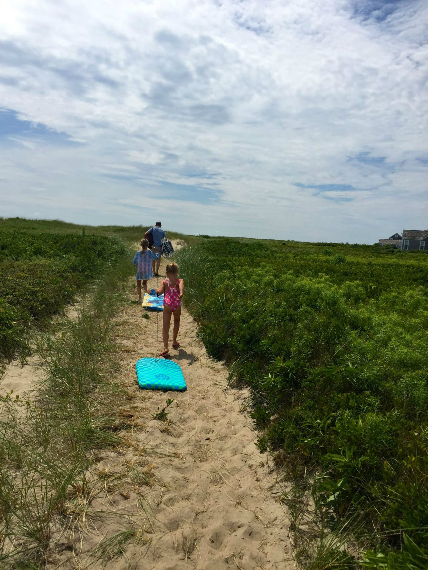 Walking to the beach in Nantucket.