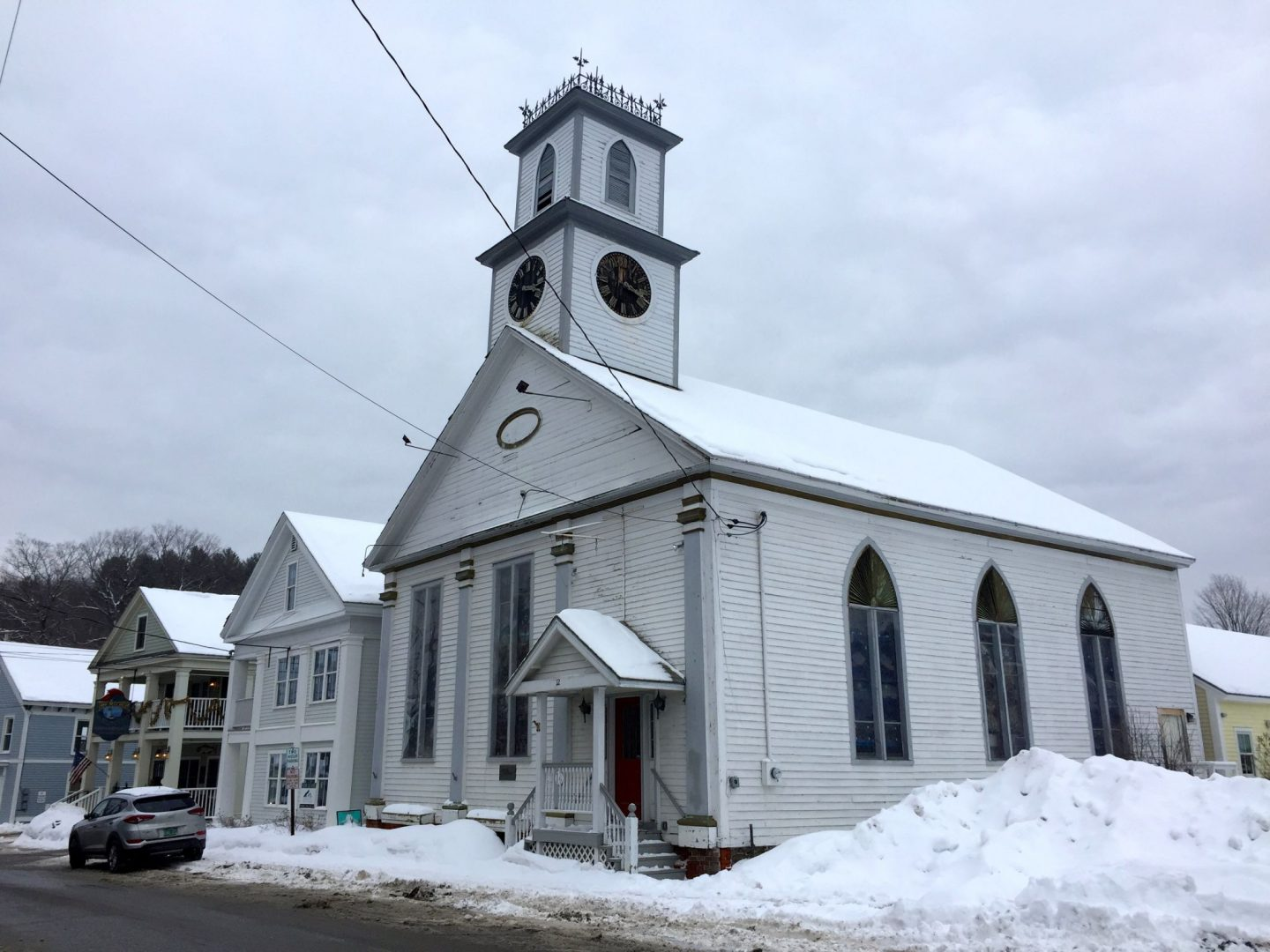 A gothic church surrounded by snow in Wilmington Vermont