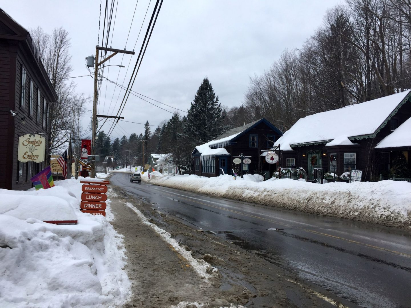 The snow covered town of Wimington Vermont in winter