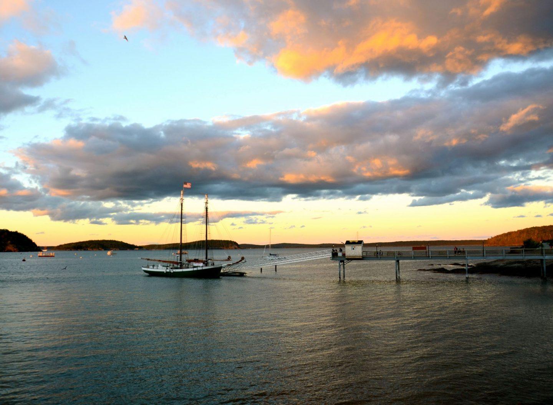 Bar Harbor Maine at sunset.