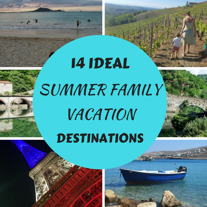 Ideal Summer Family Vacation Destinations presented by family travel bloggers.