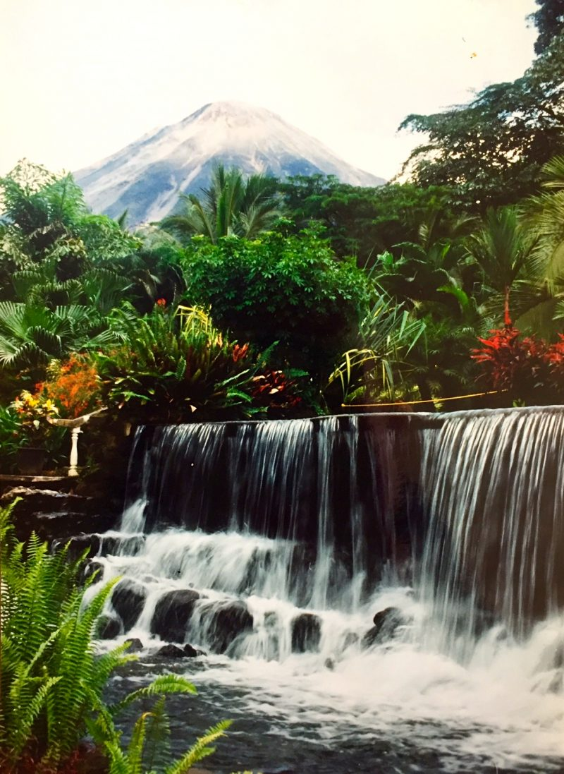 Travel Exchange - Enjoying the hot springs with volcano views in Arenal, Costa Rica.