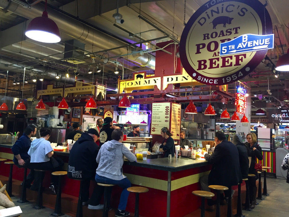 Eating lunch at Reading Terminal Market in Philadelphia.