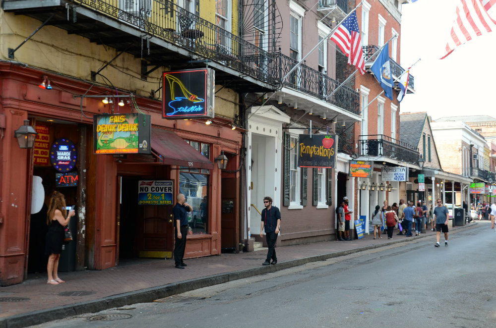 Walking on Bourbon street in the French Quarter in New Orleans.