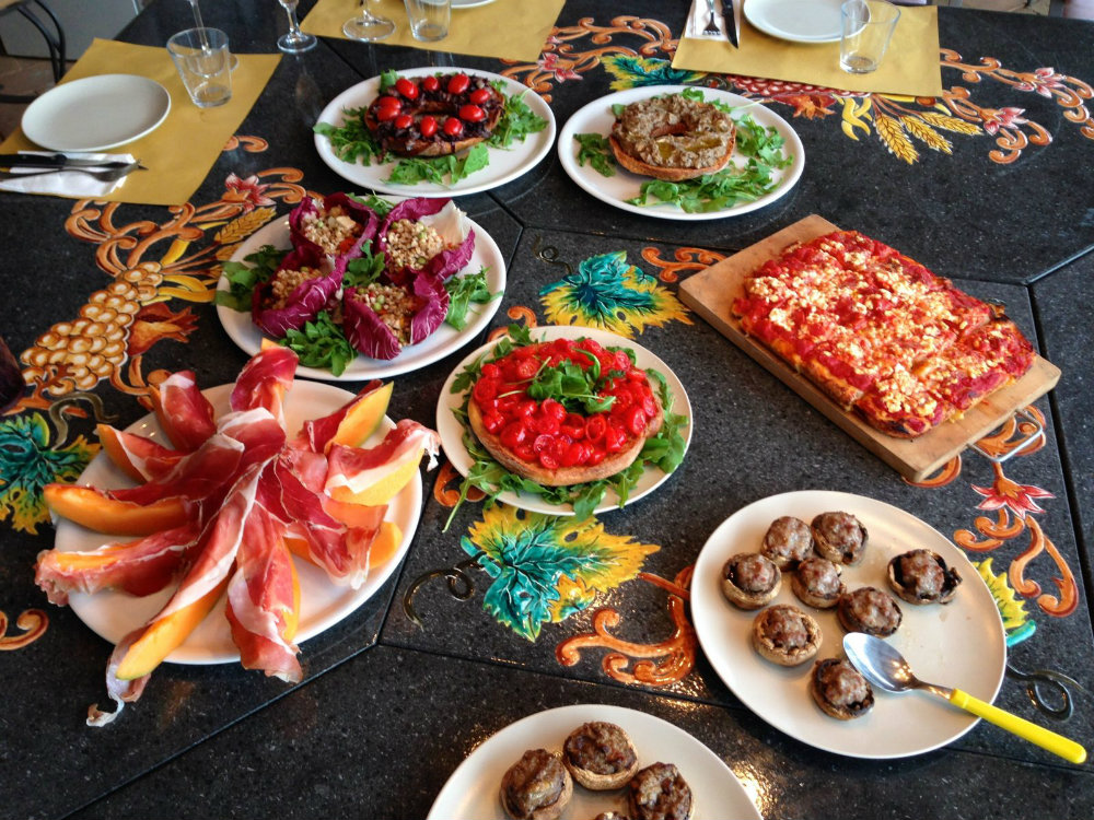 Delicious food for dinner in Tuscany