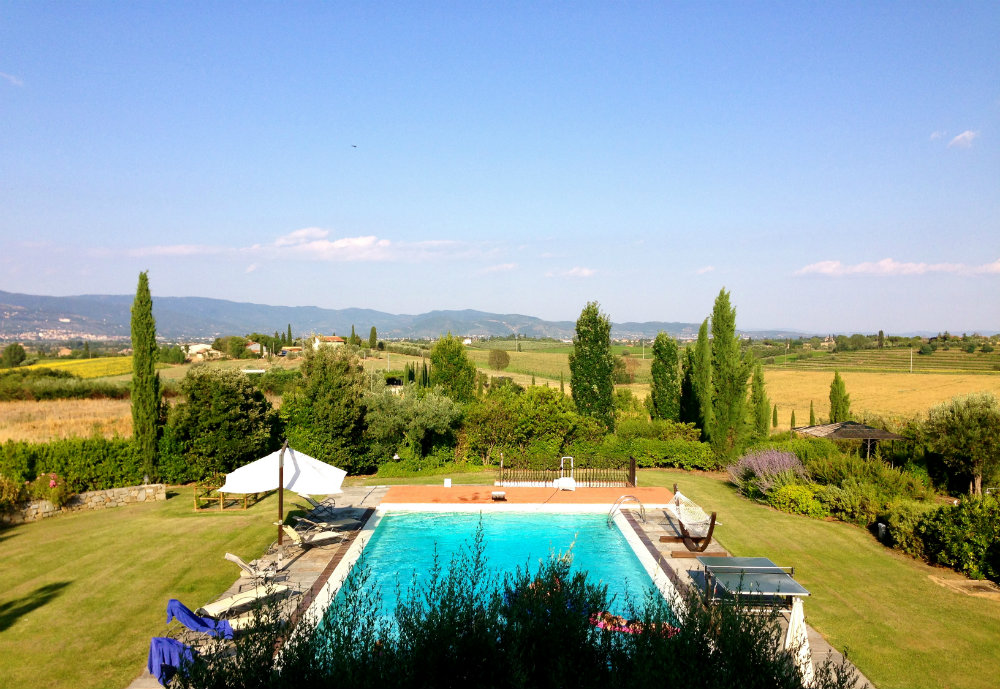 The pool at our villa in Tuscany