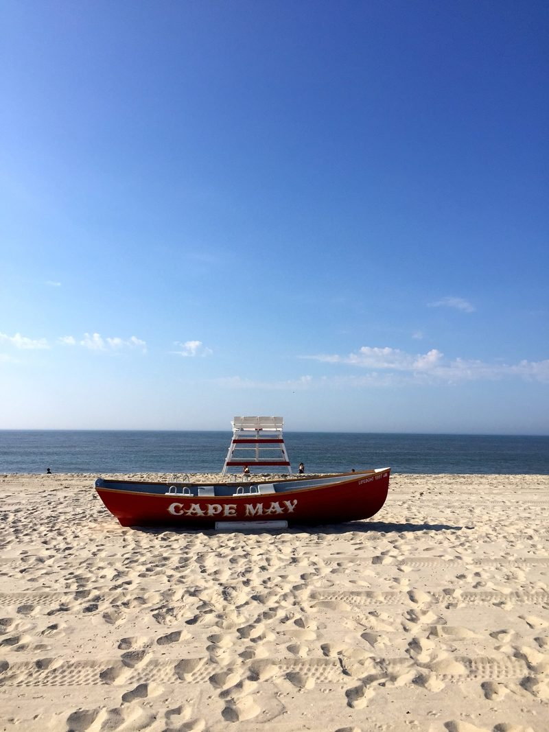Classic Cape May boat on the beach in New Jersey.