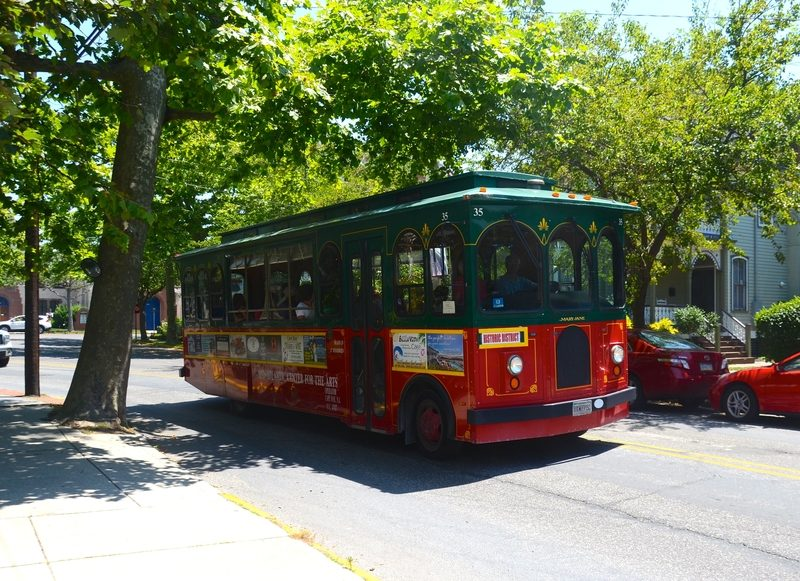 Taking a tour on the trolley in cape May, New Jersey.
