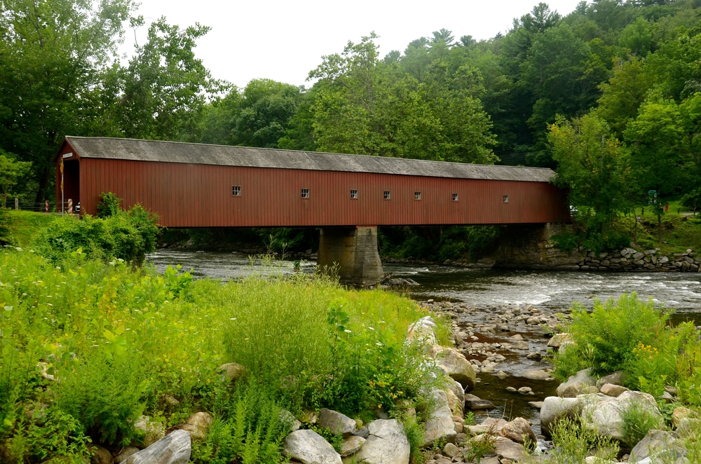 Covered bridge in Cornwall in Litchfield County, Connecticut.