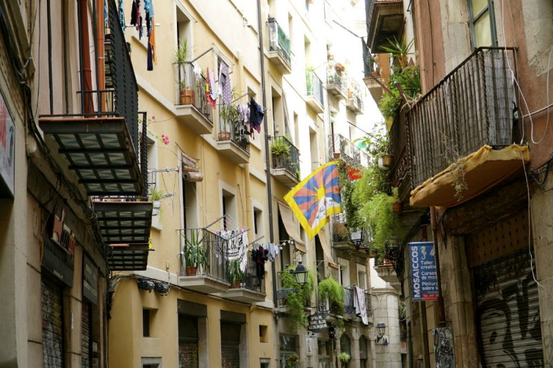 Colorful El Born in Barcelona.