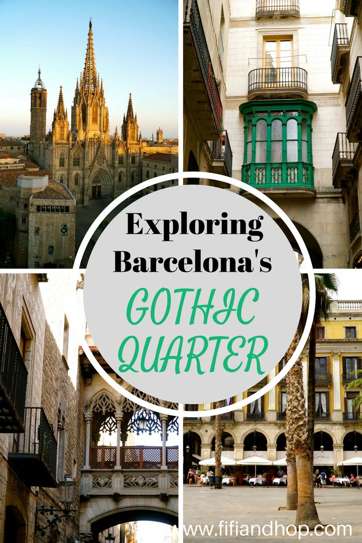 Exploring the Gothic Quarter in Barcelona.