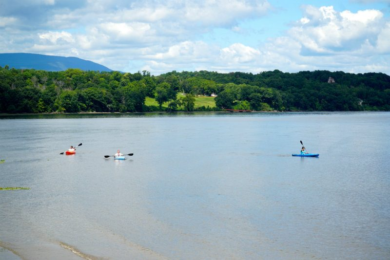 Kayaking on the Hudson River at the Saugerties Lighthouse.