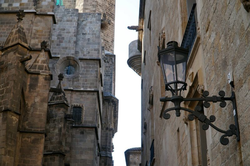 architecture in the Gothic Quarter in Barcelona.