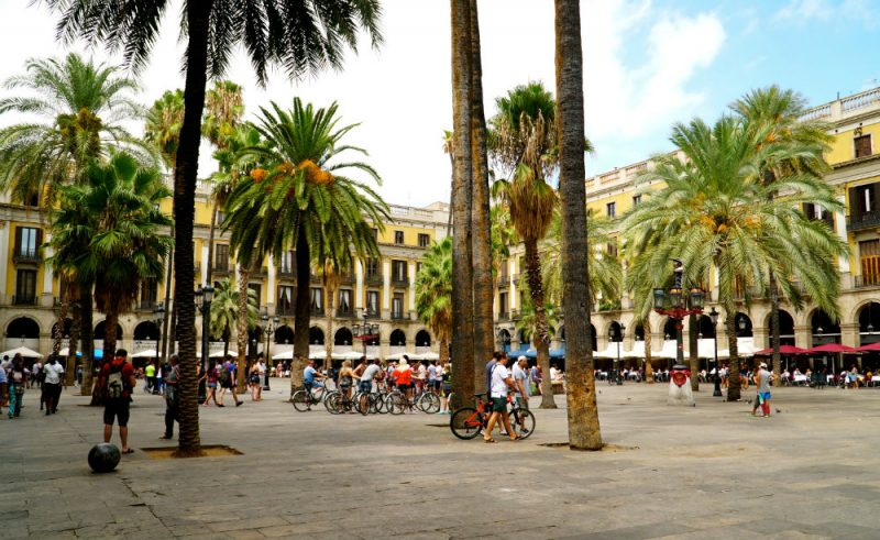 Placa Reial in the Gothic Quarter in Barcelona.