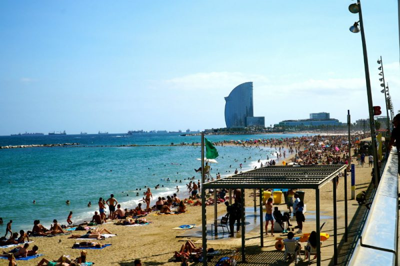 Barcelona with kids at the beach
