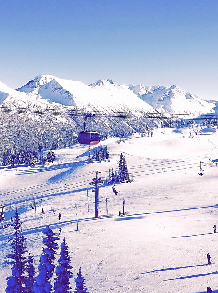 View of the gondola at Whistler mountain in Canada.