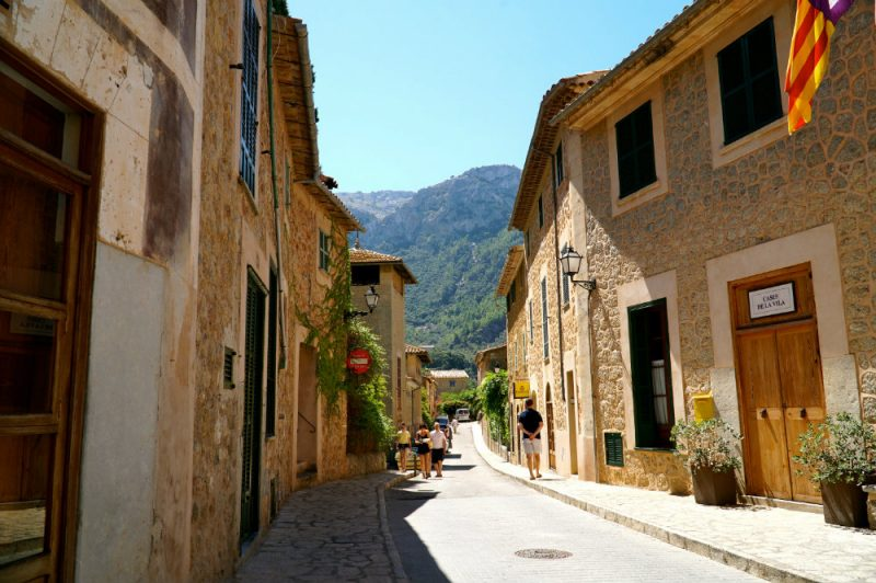 Walking the streets of Deia village in Mallorca.