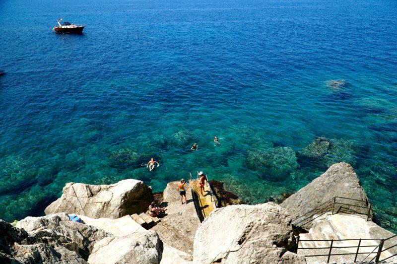 Swimming in a cove in Western Mallorca.