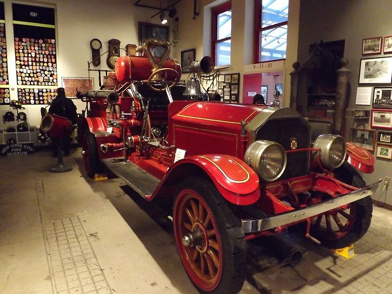 Antique fire truck at the New York City Fire Museum in SoHo, New York
