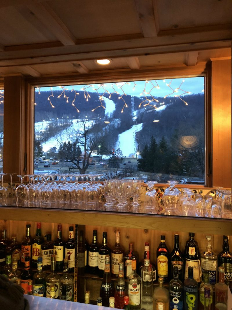 Looking out at the Catamount slopes at the Swiss Hutte bar