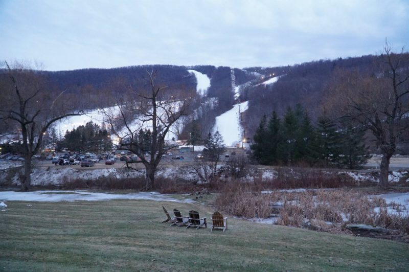 View of the slopes at Catamount mountain from the Swiss Hutte