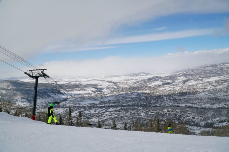 Skiing down the mountain at Steamboat Springs ski resort