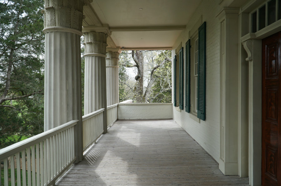 Ourside the upstairs porch at The Hermitage in Nashville, TN