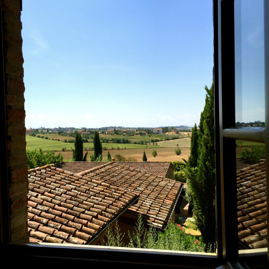 Travel talk, looking out the window in our Tuscan villa